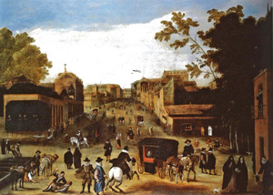 From crop fields to the first stately mansions 1640 Anonymous, Intersection of Paseo del Prado and Carrera de San Jerónimo, circa 1640. Marquis of Santa Cruz (Álvaro Fernández Villaverde, Duke of San Carlos) Collection