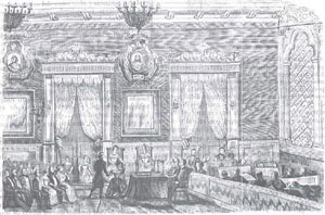 "1844 PIQUER, José de (draughtsman) and ORTEGA, Calixto (engraver)Commemoration in the halls of the Lyceum of Arts and Letters of the coming-of-age of Isabella I, with the ""Floral Prizes"" award ceremony on 23 December 1843.""El laberinto"", Volume 6, issue 1, 16 January 1844. National Library"