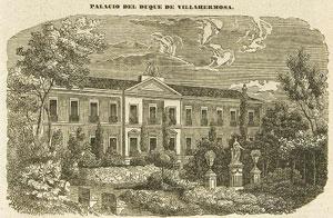 1848 El Palacio de Villahermosa, fachada al jardín, Madoz e Ibañez, Pascual, Audiencia, provincia, intendencia, vicaría, partido y villa, Madrid, 1848, p. 259 (Biblioteca Nacional)