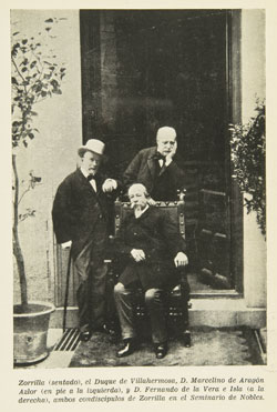 Undated: Zorrilla, seated, with Marcelino Aragón Azlor, the Duke of Villahermosa, and Fernando de la Vera (fellow students at the Seminario de Nobles), in front of the garden door of the Villahermosa Palace, circa 1880 (?), in Luis Fernández Martín, Zorrilla y el Real Seminario de Nobles, 1827-1833: Con un apéndice de 65 cartas íntimas e inéditas del poeta Texto impreso, Casa Martín, 1945. (Provenance unspecified, but probably from the Villahermosa Archive). National Library copy.