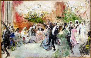 José Moreno Carbonero Dance at the house of the Marchioness of Squilache in honour of the Ambassador of Morocco, 1895 Sketch, oil on canvas, 43 x 65 cm. Museo de Bellas Artes de Málaga