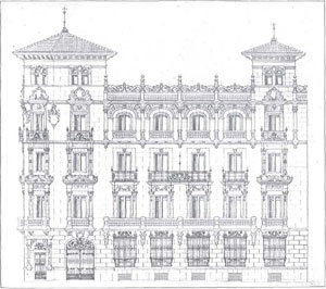 "1917 Cesáreo Iradier Uriarte, elevation of 19 Marqués de Cubas, in work by unknown author, ""Building in Madrid. House under construction at no. 13 Calle Marqués de Cubas (extending around the corner to Calle Zorrilla), the property of His Excellency the Count of Guaqui"", La Construcción Moderna, issue 21, 15 – XI – 1917, p. 251. (National Library"