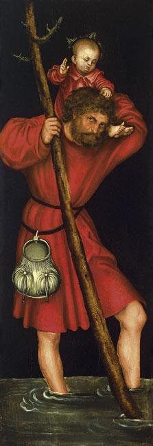 Saint Christopher (exterior left wing), Lucas  Cranach , the Elder