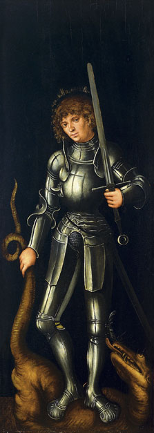 Saint George (exterior right wing), Lucas  Cranach , the Elder