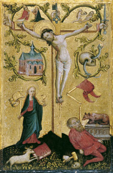 Christ on the Cross as Redemptor Mundi (right wing),  Anonymous German Artist active in Westphalia