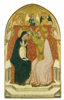The Coronation of the Virgin with five Angels,  Master of 1355