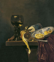 Still Life with Chinese Dish, Rummer, Knife, Bread and Fruit, Attributed To Jan Jansz. van de  Velde III