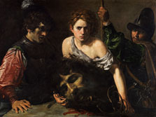 David With the Head of Goliath and two Soldiers, Valentin de Boulogne