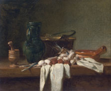 Still Life with Pestle and Mortar, Pitcher and copper Cauldron,  Chardin