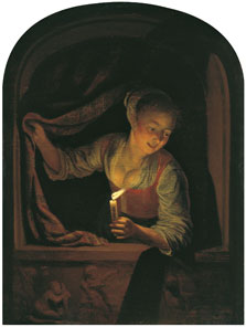 Young Woman with a lighted Candle at a Window, Gerrit Dou