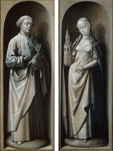 Lamentation Triptych (verso): Saint Peter (left exterior wing) / Saint Barbara (right exterior wing),  Master of the Saint Lucy Legend