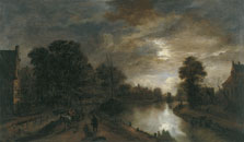 Moonlit Landscape with a Road beside a Canal, Aert van der Neer
