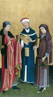 Saints Cosmas, Damian and Pantaleon,  Master of the Vision of Saint John