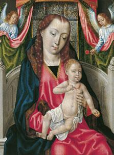 La Virgen con el Niño y dos ángeles,  Maestro de la Leyenda de santa Úrsula