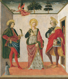 Saint Cecilia between Saint Valerian and Saint Tiburtius with a Donor, Francesco Botticini