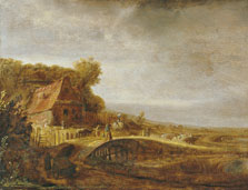 Landscape with a Farm and a Bridge, Attributed to Govert Flinck