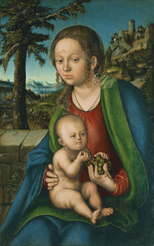 The Virgin with Child with a Bunch Grapes, Lucas  Cranach , the Elder