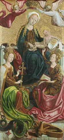 The Virgin and Child with Saient Margart and Saint Catherine,  Follower of Michael Pacher