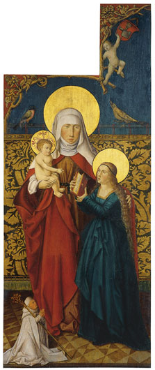 Saint Anne with the Virgin, Child  and  a Donor (exterior left wing),  Anonymous German Artist active in Swabia ca. 1515