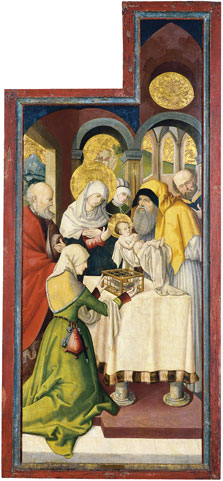 The Presentation in the Temple (interior right wing),  Anonymous German Artist active in Swabia ca. 1515