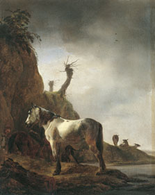 White Horse on a River Bank, Philips Wouwerman