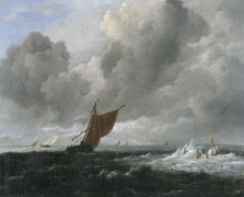 Stormy Sea with Sailing Vessels, Jacob Isaacksz. van Ruisdael