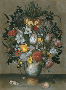 Chinese Vase with Flowers, Shells and Insects, Ambrosius Bosschaert I