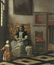 Interior with a Woman sewing and a Child, Pieter Hendricksz. de Hooch