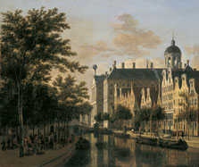 The Nieuwezijds Voorburgswal with the Flower Market, Amsterdam, Gerrit Adriaensz. Berckheyde