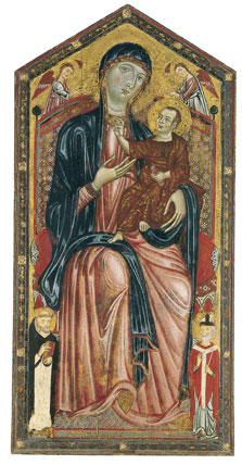 The Virgin and Child enthroned with Saints Dominic and Martin, and two Angels,  Master of the Magdalen