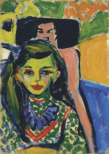 Fränzi in front of a Carved Chair, Ernst Ludwig Kirchner