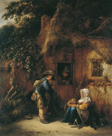 Traveller at a Cottage Door, Isack van Ostade