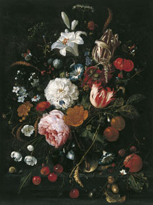 Flowers in a glass Vase with Fruit, Jan Davidsz. de Heem