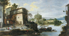View of a River Port with Castel Sant'Angelo, Rome,  Master of the Monogram IDM