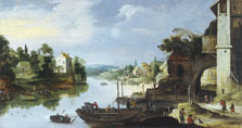 View of a Village beside a River,  Master of the Monogram IDM