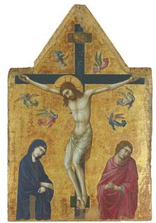 La Crucifixión con la Virgen, san Juan y ángeles, Ugolino di Nerio (Ugolino da Siena)