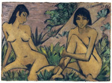 Two Female Nudes in a Landscape, Otto Müller