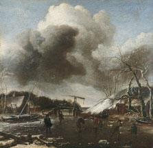Paisaje de invierno, Jan van de Cappelle