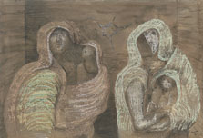 Two Mothers Holding Children, Henry Moore