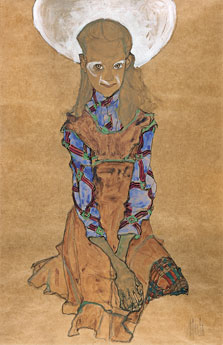 Seated Girl (Poldi Lodzinsky]), Egon Schiele