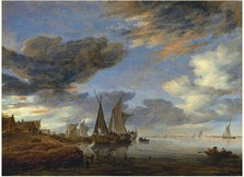 Sailing Vessels moored near a Village, Salomon Jacobsz. van Ruysdael