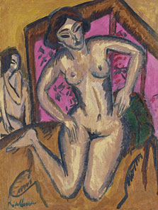 Kneeling Nude in front of Red Screen (verso: Seated Nude with Bent Leg), Ernst Ludwig Kirchner
