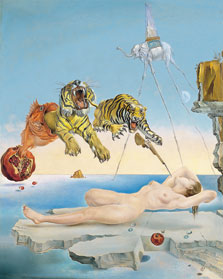 Dream caused by the Flight of a Bee around a Pomegranate a Second before Wakening up, Salvador Dalí
