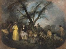 El descanso, Jean Antoine Watteau