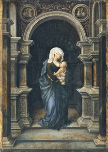 The Virgin, standing, with Christ Child at her Breast,  Anonymous Flemish Artist active ca. 1530