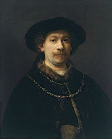Self-portrait wearing a Hat and two Chains, Harmensz. van Rijn Rembrandt