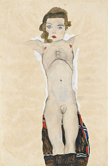 Nude Girl with Arms Outstretched, Egon Schiele