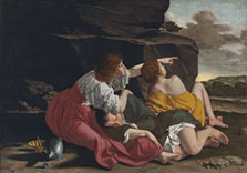 Lot and his Daughters, Workshop of Orazio Gentileschi