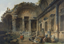 Interior of the Temple of Diana at Nîmes, Hubert Robert