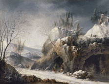 Winter Landscape with a Paseant Family, Francesco Foschi